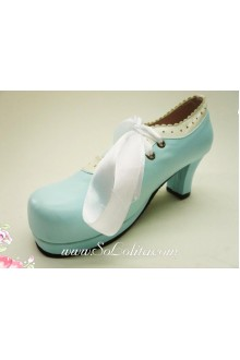 Blue Lacing PU Sweet Lolita Shoes