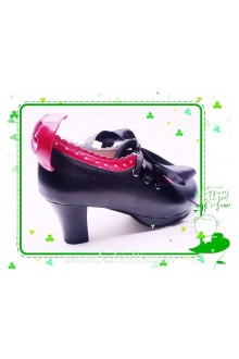 Black Lacing Bow PU Sweet Lolita Shoes