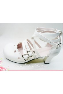 White Heart Bow PU Sweet Lolita Shoes