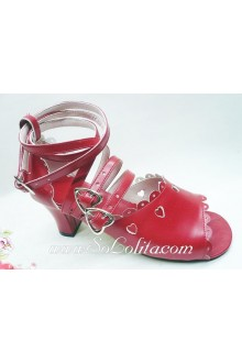 Red Heart PU Sweet Lolita Shoes