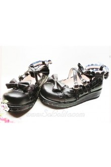 Black Pinking PU Sweet Lolita Shoes