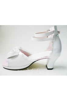 White Silk belt PU Sweet Lolita Shoes