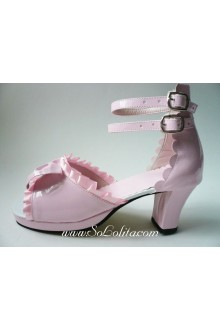 Pink Silk belt PU Sweet Lolita Shoes
