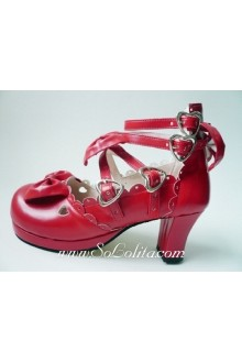 Red Bow PU Sweet Lolita Shoes