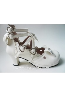 White Bow PU Sweet Lolita Shoes