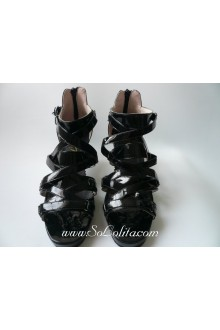 Black Cross Zipper PU Sweet Lolita Shoes