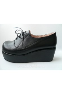 Black Lacing PU Sweet Lolita Baba Shoes