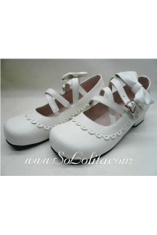 White Bow Lacing PU Sweet Lolita Shoes