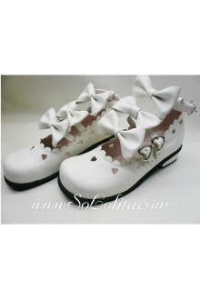 White Bows Heart PU Sweet Lolita Shoes