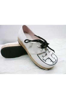White Lacing Cross Rivets PU Sweet Lolita Shoes