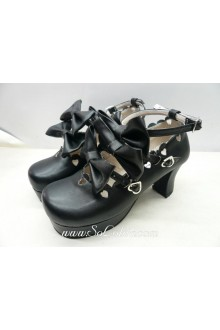 Black Bow Heart PU Sweet Lolita Shoes