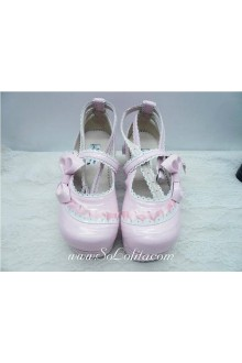 Pink Bow Princess PU Sweet Lolita Shoes