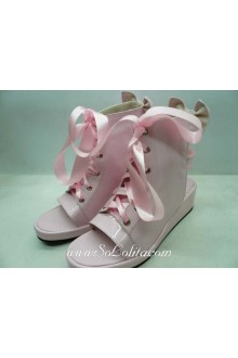 Pink Lacing Fish Head PU Sweet Lolita Shoes