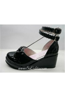 Black Bow Hollow PU Sweet Lolita Shoes