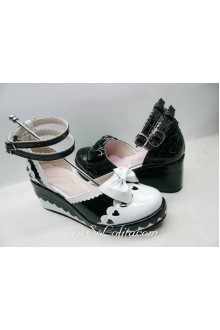 Black and White Bow Heart PU Sweet Lolita Shoes