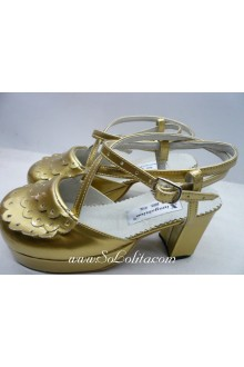 Golden Square Root Flowers PU Sweet Lolita Shoes