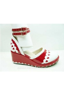 Red and White Heart PU Sweet Lolita Shoes