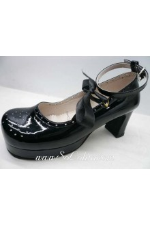 Black Hollow Lacing PU Sweet Lolita Shoes