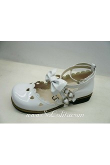 White Hollow Heart PU Sweet Lolita Shoes