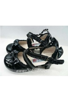 Black Lace Buckle Princess PU Sweet Lolita Shoes