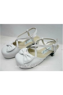 White Bow Buckle Princess PU Sweet Lolita Shoes