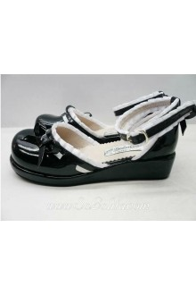 Black and White Lace PU Sweet Lolita Shoes