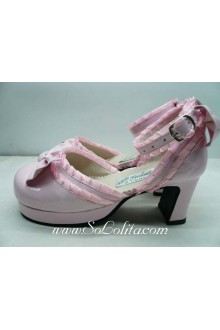 Pink Lace PU Sweet Lolita Shoes
