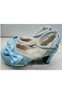 Green and White Lace PU Sweet Lolita Shoes