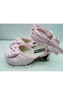 Pink Lace Bow PU Sweet Lolita Shoes