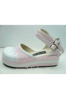 White and Pink PU Sweet Lolita Shoes