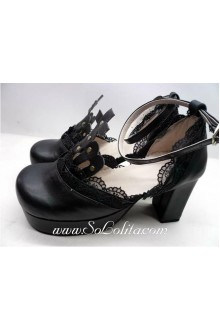 Black Fashion Lace PU Sweet Lolita Shoes