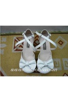 White Bow Cross PU Sweet Lolita Shoes