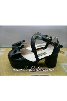 Black Bow Square Root PU Sweet Lolita Shoes
