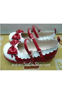 White and Red Bow PU Sweet Lolita Shoes