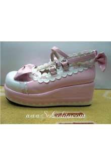 Pink and White Bow PU Sweet Lolita Shoes