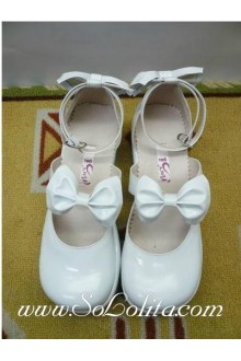 White Bow Round Head PU Sweet Lolita Shoes