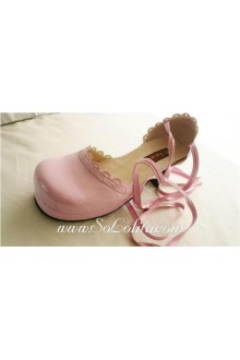 Pink Lacing Queen PU Sweet Lolita Shoes
