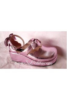 Bright Pink Thick Bottom PU Sweet Lolita Shoes