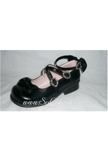 Black Bow PU Sweet Lolita Shoes