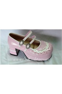 Pink Lace Princess PU Sweet Lolita Shoes