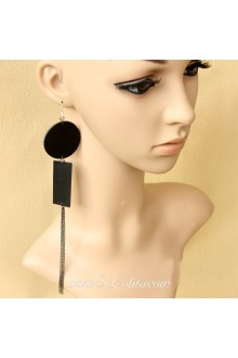 Lolita Fashion Personality Geometric Pattern Long Tassel Earring