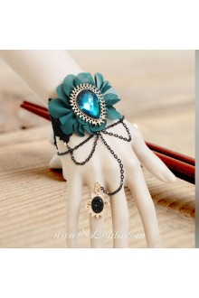 Baroque Vintage Flower Lace Blue Diamond Lolita Bracelet
