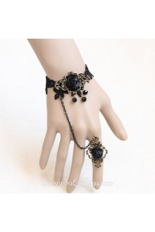 Black Rose Vintage Lace Artificial Crystal Lolita Bracelet