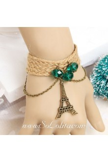 Sen Department Eiffel Tower Vintage Artificial Crystal Lolita Bracelet