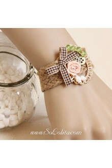 Little Fresh Sen Department Artificial Crystal Bow Rose Lolita Bracelet