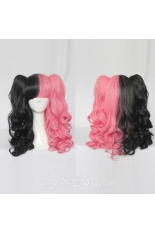 Lolita Wig Curl Sweet Pink Black Mixed Medium