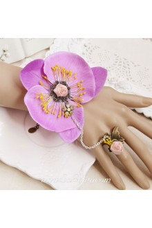 Lovely Small Flower Purple Buterfly Vintage Lolita Bracelet