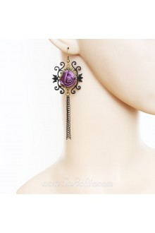 Lolita Lovely Popularity Goblin Tribe Purple Rose Archaize Earring