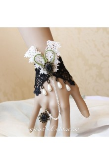 Black and White Lace Vintage Ball pearl Lolita Bracelet