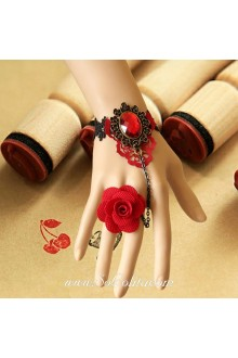 Red Flower Diamond Vintage Bride Lolita Bracelet